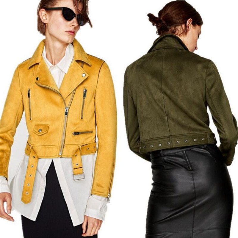 New Fashion Women Artificial Suede Motorcycle   Jacket   Slim   Basic     Jackets   Coats Vintage Long Sleeve Female Ds5033