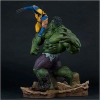 36CM 1/4 Scale Avengers Anime Figure Hulk Vs Wolverine Dolls Hulk X MAN Action Figure Resin Statue Bust Model Decoration Toy Ver