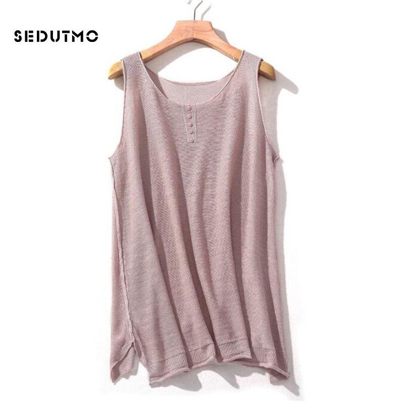 Женская трикотажная футболка SEDUTMO, черная футболка без рукавов на лето и осень, ED785
