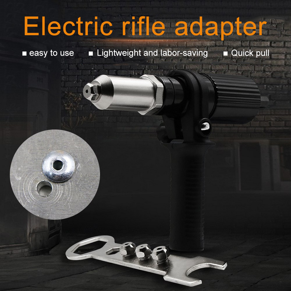 10A Rivet Guns Machine Pull Suitable 2.4/3.2/4.0/4.8mm Rivet Interface Conversion Head Accessories Core Pulling Black Alloy Tool