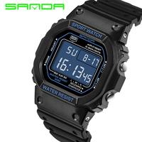 2016 New SANDA Men Sport Casual Watch LED 3ATM Calendar Digital Watches Student Outdoor Wristwatches Wrist