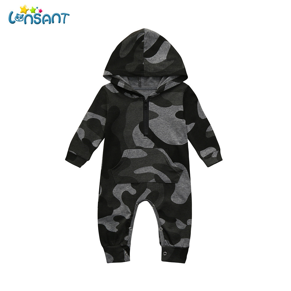 LONSANT 2018 Newborn Baby   romper   Infant Baby Boys Girls Camouflage Print Hooded   Romper   Jumpsuit Clothes Outfits Baby Clothes set