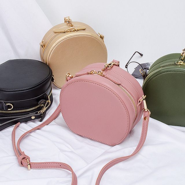 Pink Gold Small Round Bag Women Round Handbags Circular women s bags  shoulder bag wristlet Sling Bag Mini Circle Cross Body Bag 63ee887895