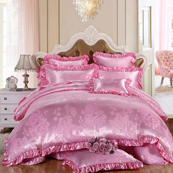 Luxury 4Pcs Lace Sateen Silky European Style Jacquard Floral Queen/King Size Bed Linen Quilt/Doona/Duvet Cover Set&Sheet Pink