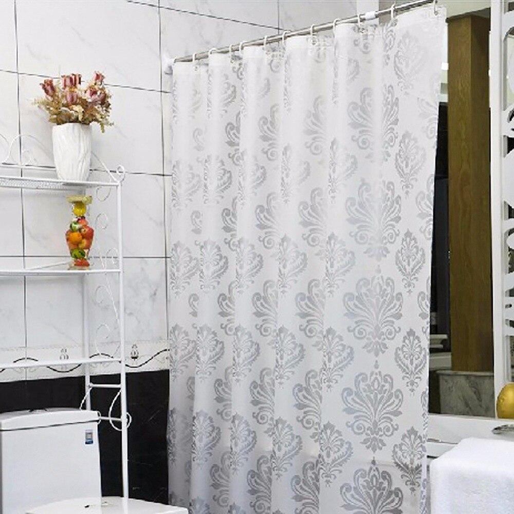 Waterproof bathroom curtains - Shower Curtain Fashion Peva Padded Waterproof Bathroom European Style Shower Curtain Silver Plant Shape Bathroom Curtain