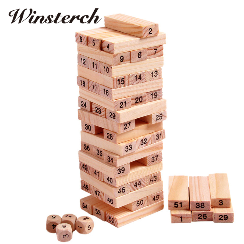 Wood Building Figure Blocks Domino 54pcs Stacker Extract Jenga Game Gift 4pcs Dice Kids Early Educational Wooden Toys Set ZS041 baby gift imported wood color large blocks 1 2 3 6 years old early childhood educational toys