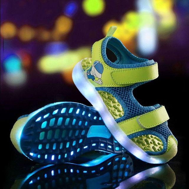 Летний детский свет сандалии USD заряда детская обувь мигать обувь мальчиков и девочек бренд дышащий пляжная обувь