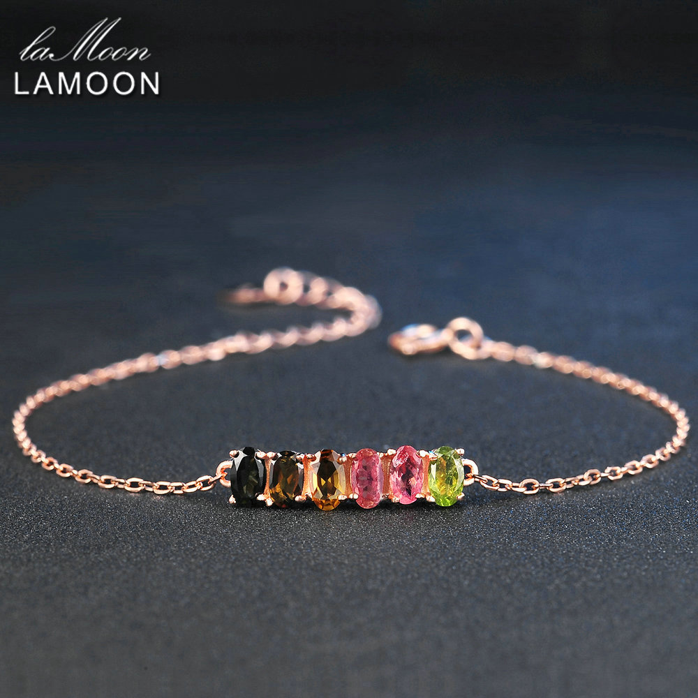 LAMOON Classic 100 Natural 6pcs Multi Color Oval Tourmaline 925 Sterling Silver Jewelry S925 Bracelet LMHI018