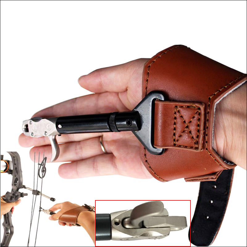 New Hunting Arrow Archery Bow Releases With Adjustable Strap For Shooting Practice   W/Trigger Wrist Strap Steel Calip