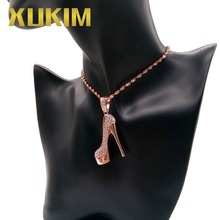 Xukim Jewelry Beautiful Iced Out Hip Hop CZ Rose Gold Color High Heel Pendant Necklace for Women Party Mothers Day Gift