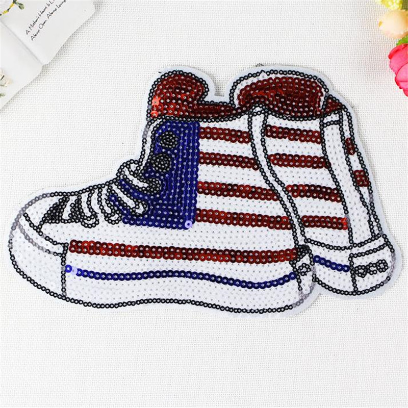 Free shipping sequins patch 25cm shoes deal with it iron on patches for clothing 3d t shirt mens, T shirt Women