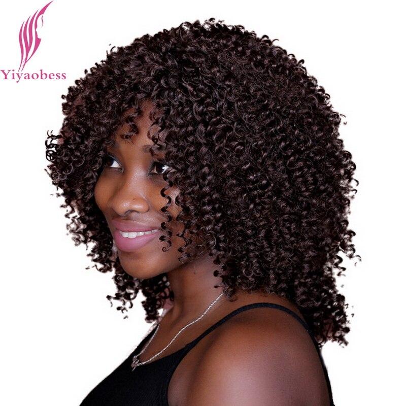 Yiyaobess 40 Cm Frisuren Mittellang Dunkelbraun Afro Verworrenes