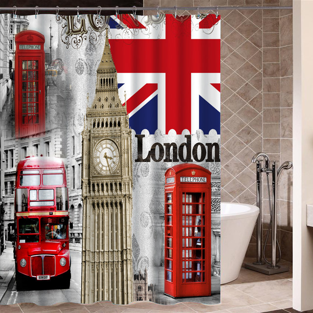 London Flag Vintage Durable Fabric Curtain For Bedroom Bathroom Polyester Bath Kitchen Curtains With Hooks Rideau De Douche