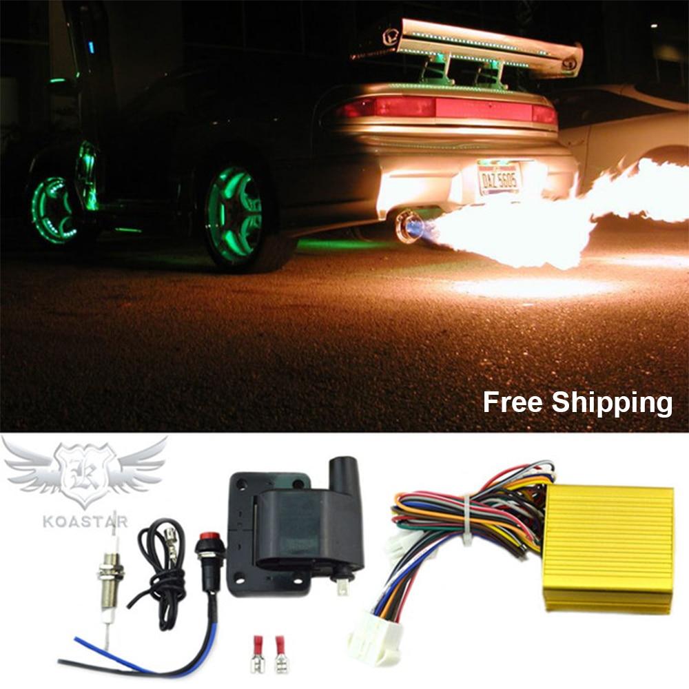 Aircraft Aluminum Exhaust Flame Thrower Kit Universal for Cars Motors ATVs Fire Burner Afterburner Kit