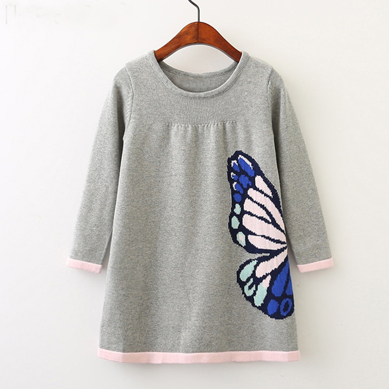 2018 Brands New Girls Woolen Sweater Winter Autumn Girl Round Neck Printed Butterfly Pattern Kids Sweater Baby Girls Sweater geometric crew neck space dyed sweater