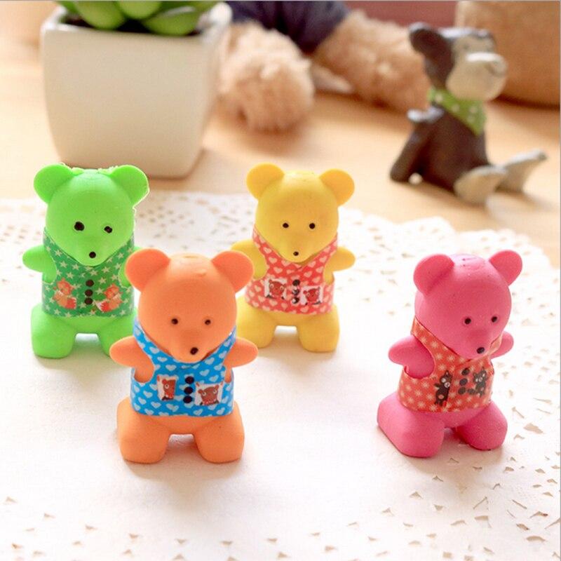 Купить с кэшбэком 1X Kawaii Colour bear cute animal modelling rubber eraser Korean creative stationery kindergarten primary school students prizes