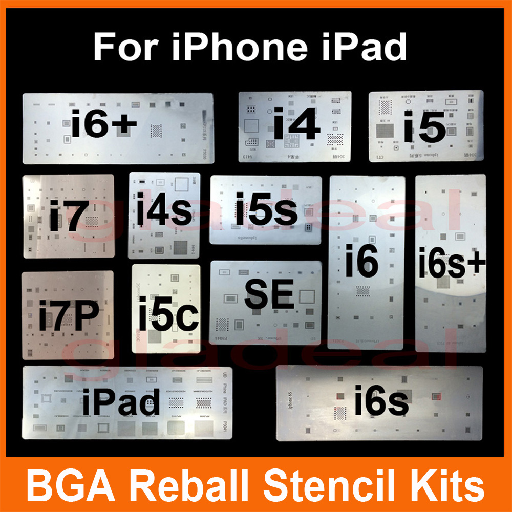 IC Chip BGA Reballing Stencil Kits Set Solder Template For Iphone 4 4s 5 5C 5s 6 6s 7 Plus ES IPad High Quality Free Shipping Worldwide