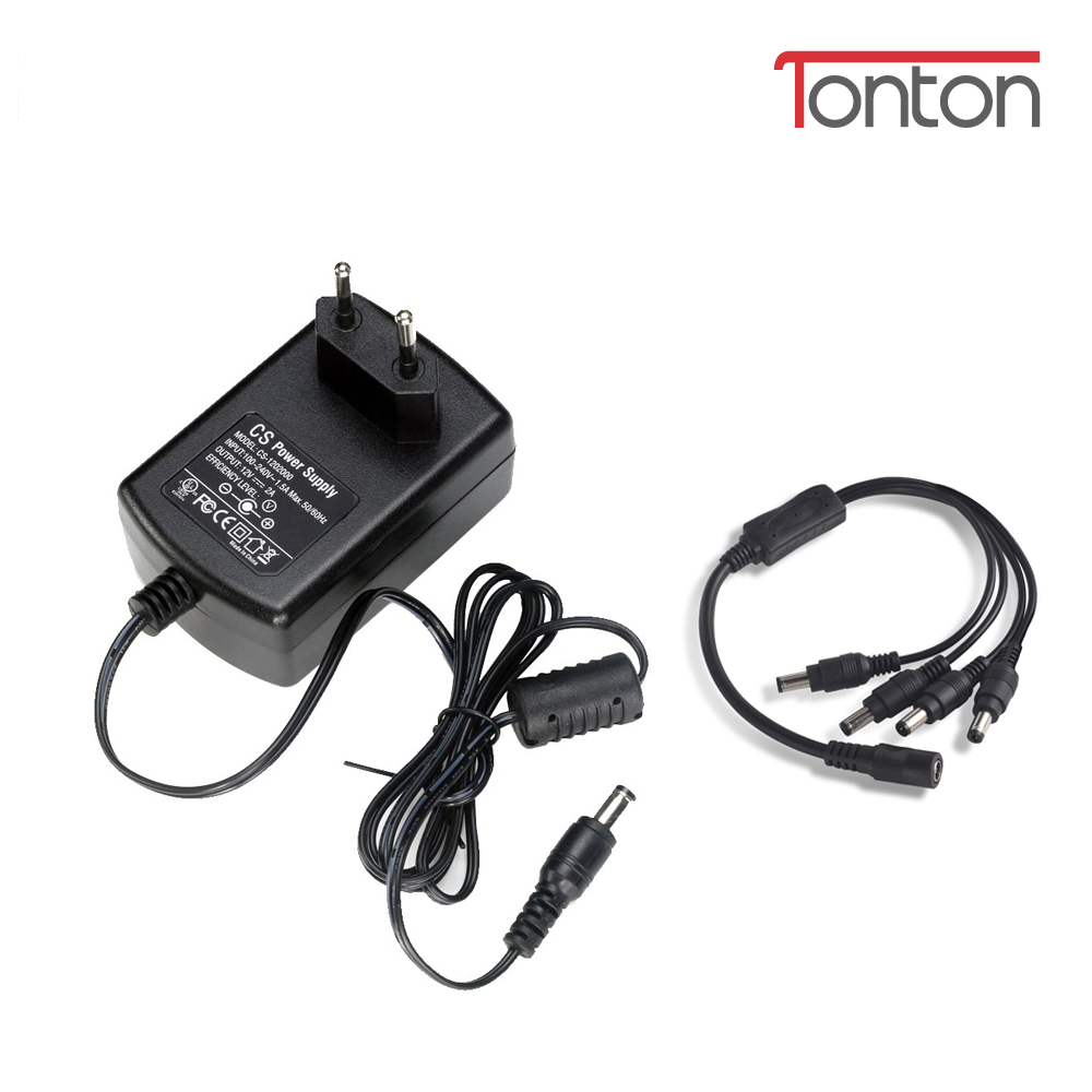 Tonton 1 to 4 Splitter Cable and 12V 2A Power Supply DC US/EU/UK/AU CCTV Adapter for Home Security Camera System h view 12v 2a power supply for cctv camera system eu uk us au 12v dc adapter for security camera system