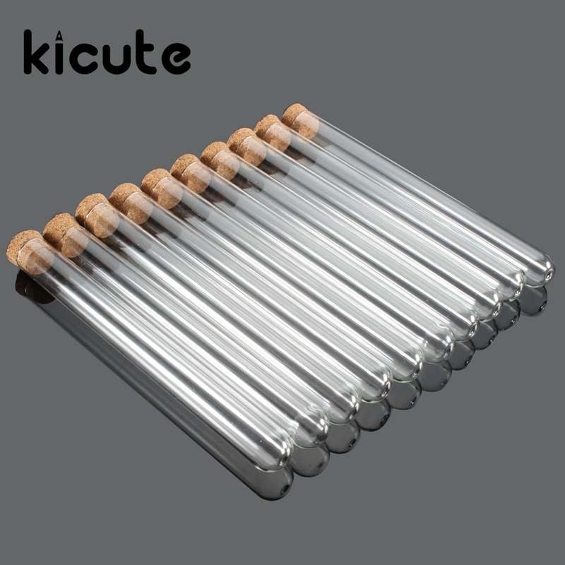 Kicute 10pcs/pack Lab Glass Test Tube With Cork Stoppers 15x150mm Laboratory School Educ ...