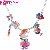 Bonsny Enamel Angel Starwberry Maxi Necklace Pendants Statement Choker Chain Collar 2017 New Fashion Jewelry For