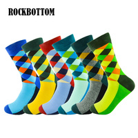 Rockbottom 6 Pairs Lot Multicolor Men S Socks British Style Plaid Gradient Color Long Big Size