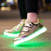 Silver Gold USB Charger Glowing Luminous Sneakers Kids Light Sole Boys Led Slippers Baby Girl Light Up Shoes Casual Sneaker