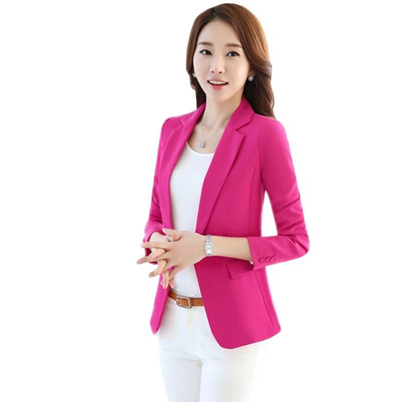 Fashion Short Blazer Women 2019 Spring Autumn Elegant Slim Long Sleeve Suit One Button Female Blazer Plus Size Blazers Tops 4XL