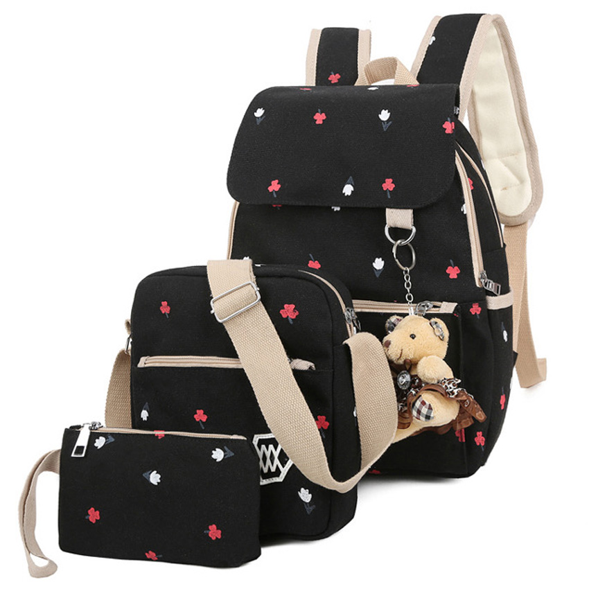 3PCS Lot Fashion Floral Painting Design Women Backpack Durable Canvas Backpack School Bag With Little Bear