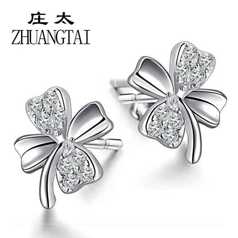 ZHUANGTAI Women Earrings Girl Happiness Clover Zircon Stud Earings Female Jeweller Silver Color Fashion Jewelry Gift Favourite