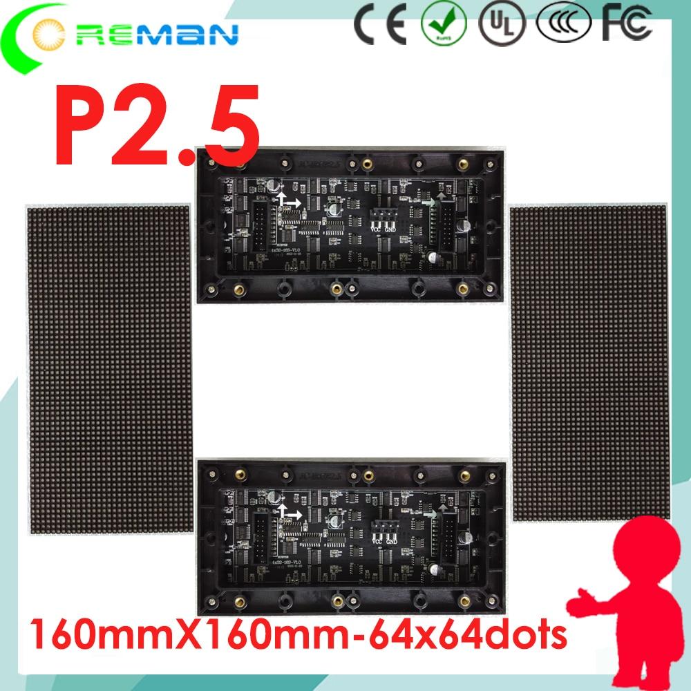 2pcs free shipping led module p2 5 64x32 high brightness p2 5 indoor led sign module
