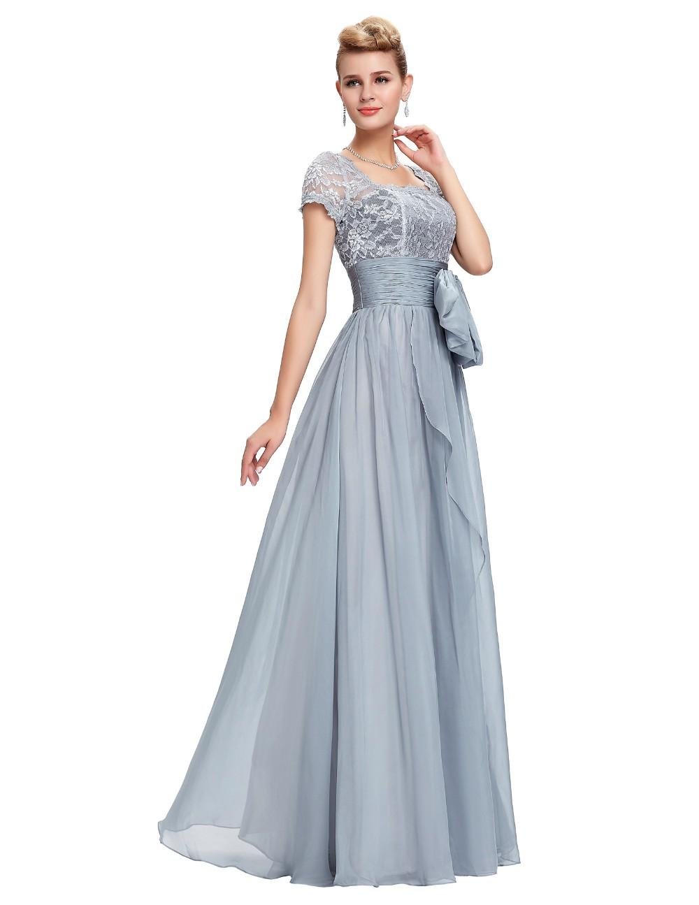 Grace Karin Chiffon Lace Elegant Long Evening Dresses Grey Formal Evening Gowns robe de soiree longue GK4445 8