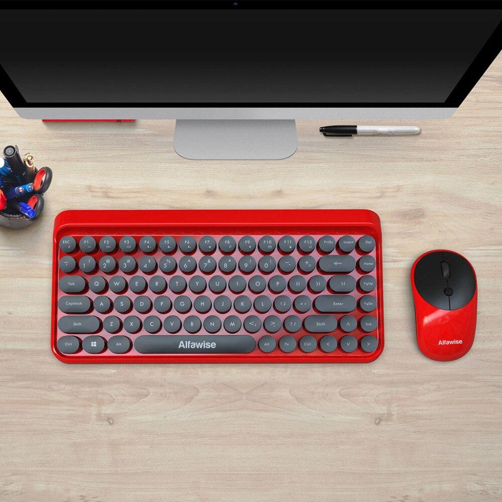 Mode chocolat keycap étanche 2 en 1 rétro Keycap Style 84 touches sans fil clavier + souris pour jeux de bureau rapidement contrôler - 6