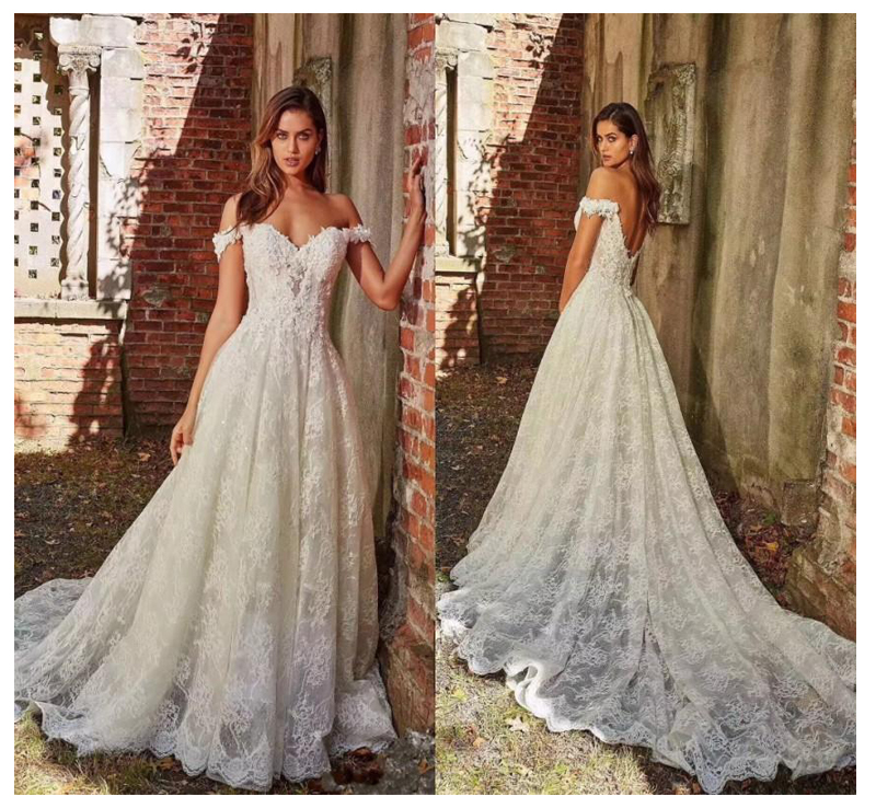 Princess Wedding Dress Off The Shoulder Lace A-Line Tulle Backless Boho Wedding Gown Free Shipping Informal Bride Dress