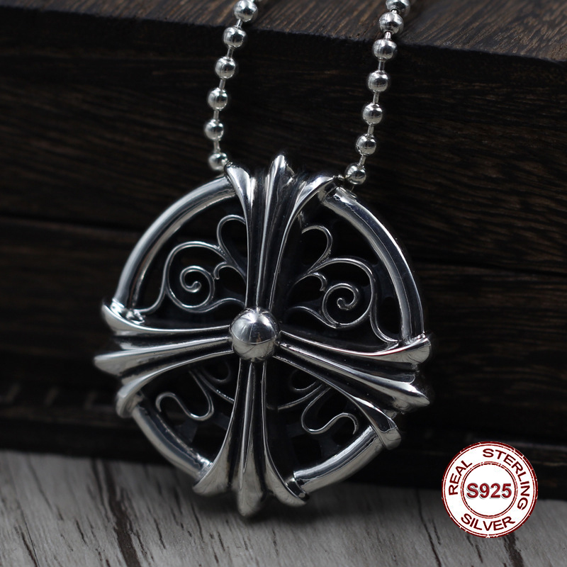 Crosses S925 Sterling Silver Pendant Personalized Fashion Punk Retro Style Hollow Cross Carved Classic Jewelry Gift Hot SaleCrosses S925 Sterling Silver Pendant Personalized Fashion Punk Retro Style Hollow Cross Carved Classic Jewelry Gift Hot Sale