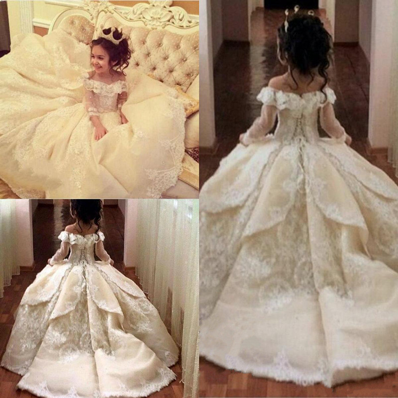 Vintage Princess   Flower     Girls     Dresses   Off Shoulder Special Occasion For Weddings Ball Gown Kids Pageant Gowns Birthday   Dress