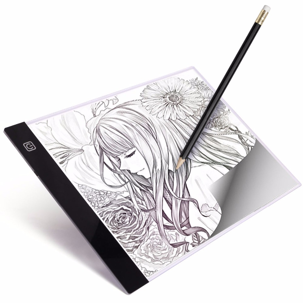 Portable Ultra-Mince A4 LED boîte à Lumière Copie Peinture Planche à Dessin Pochoir Tactile Animation Copie Pad Traçage LightBox Tablet