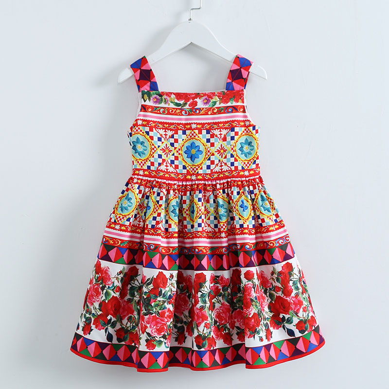 Summer children girls Sicilian Style clothing Fashion Runway Dress Romantic Italian Flower Print Dress kids girl Holiday Dresses футболка print bar summer flower