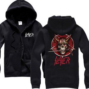 Image 3 - Sudaderas con capucha de algodón Slayer de 30 diseños, chaqueta de concha punk de metal pesado con cremallera, sudadera de forro polar, prendas de exterior con calaveras