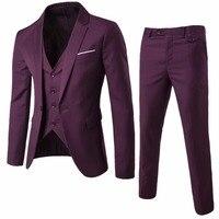 2017 Yeni Geliş erkekler İş Blazer Casual Slim Fit Üç parça Suit Düğün Suits Yüksek Kalite Dış Giyim Erkekler Blazers