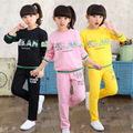 17 Fashion Girls Letter Sweater + Trousers Two Piece Suit Kids Cotton Clothes Sets Children Black/Pink/Yellow