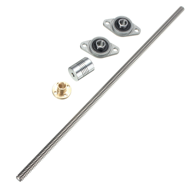 Stainless Steel CNC T8 Lead screw 300 mm 8mm + Brass Copper Nut + KFL08 Bearing Bracket + Flexible Coupling for 3D printer stainless steel kfl08 bearing bracket t8 lead screw 300 mm 8mm brass copper nut flexible coupling for 3d printer cnc