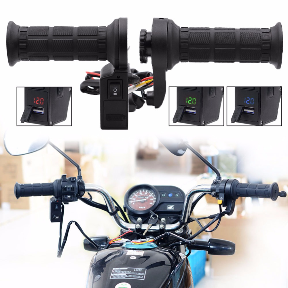 Motorcycle 3in1 Handlebar Electric Hot Heated Grips Handle Voltage USB Charger Motorcycle Parts Body Frame Handlebars Levers