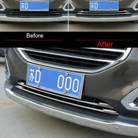 2 Pcs DIY Car Styling Stianless Steel Under The Front Grille Trim Light Cover Case Stickers