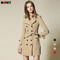 WMPRTT 2017 Spring Autumn Clothing Solid Color Lady Long Windbreak Double Breasted Slim Bur Women Trench