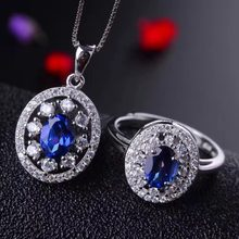 MeiBaPJ 925 Pure Silver Jewelry Set Natural Tanzania Blue Topaz Necklace and Ring Fine Party Jewelry for Women(China)