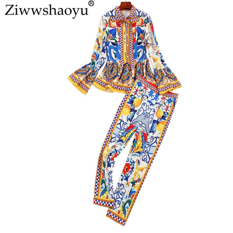 Ziwwshaoyu automne Designer ensemble costume femmes de haute qualité à manches longues bleu porcelaine imprimé Blouse à volants + pantalon Skinny costume