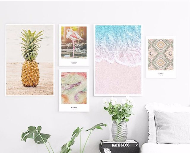 Flamingo Surf Pineapple Art Canvas Art Print Painting Poster Giclee Print  Wall Pictures For Home Wall Decor 703