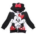 2016  Baby Kids Girls Minnie Cartoon  Long Sleeve Mouse Ear Bow Hooded Sweatshirt Hoodie Jacket Clothes Costume