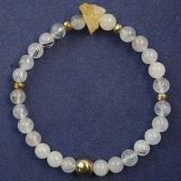 Min Order 10 Mix Free Shipping 6mm Black Rutilated Quartz Round Beads Yellow Crystal Stretchy