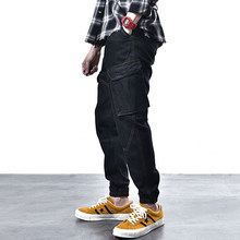 Classical Big Pocket Cargo Pants Men Jeans Vintage Designer Loose Fit Black Jogger Jeans Fashion Streetwear Hip Hop Jeans Homme(China)